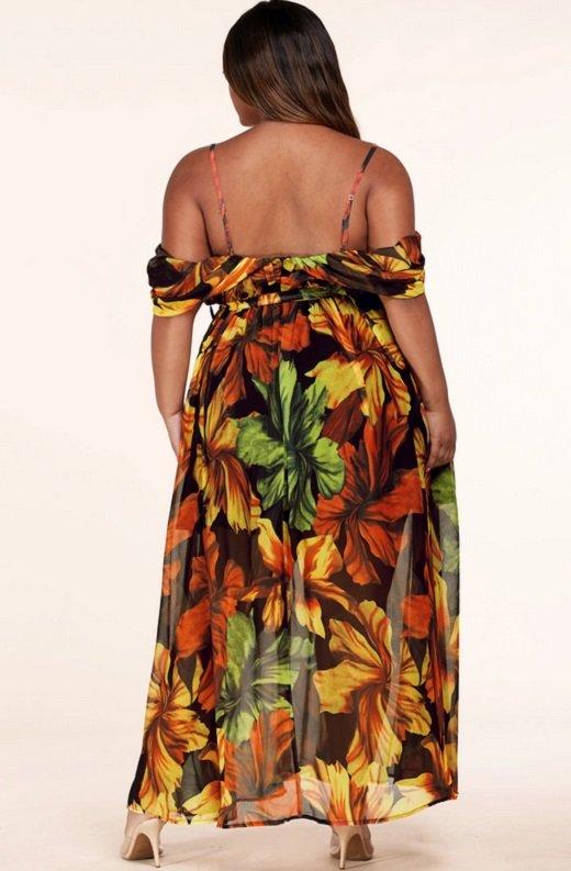 Black Yellow Floral Waist Tie Open Shoulders Maxi Dress Plus Size 3