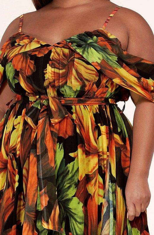 Black Yellow Floral Waist Tie Open Shoulders Maxi Dress Plus Size 4