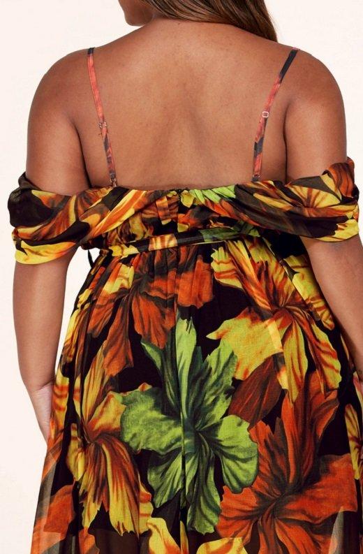 Black Yellow Floral Waist Tie Open Shoulders Maxi Dress Plus Size 5