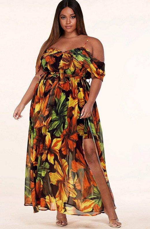 Black Yellow Floral Waist Tie Open Shoulders Maxi Dress Plus Size 6