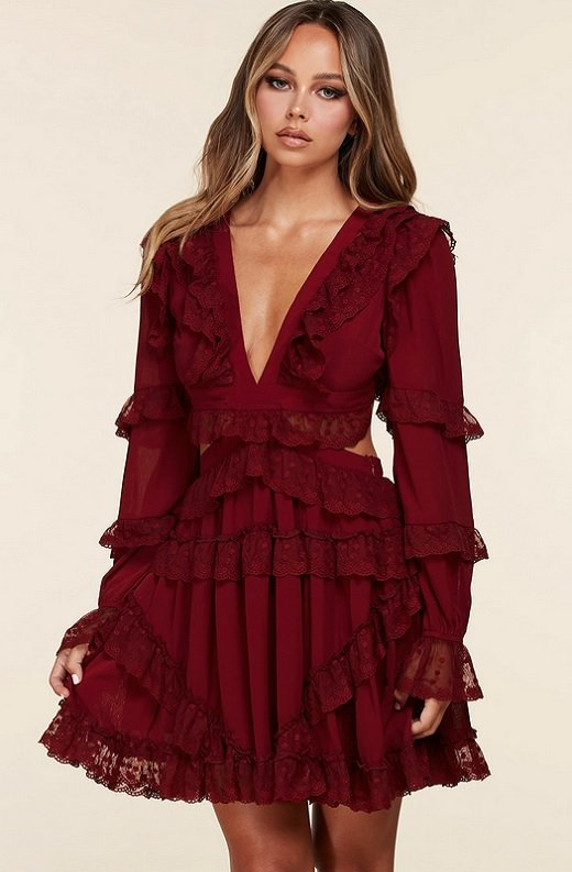 Burgundy Ruffle Cut Out Tie Up Back Mini Dress 1
