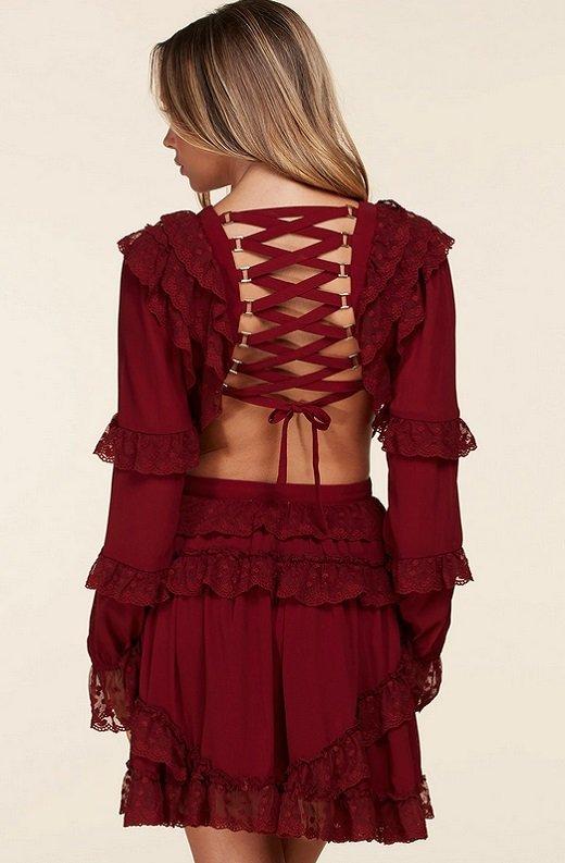 Burgundy Ruffle Cut Out Tie Up Back Mini Dress 3