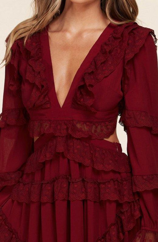 Burgundy Ruffle Cut Out Tie Up Back Mini Dress 4