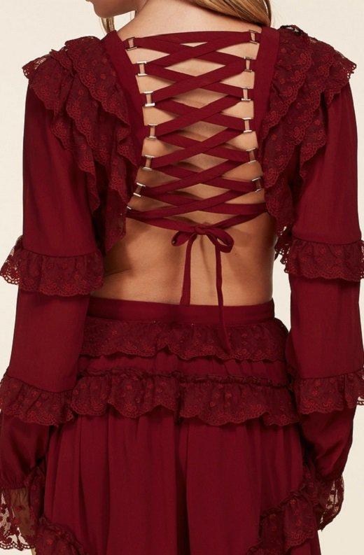 Burgundy Ruffle Cut Out Tie Up Back Mini Dress 5