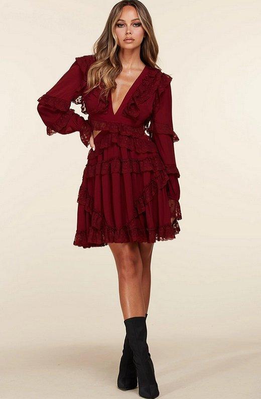 Burgundy Ruffle Cut Out Tie Up Back Mini Dress 6