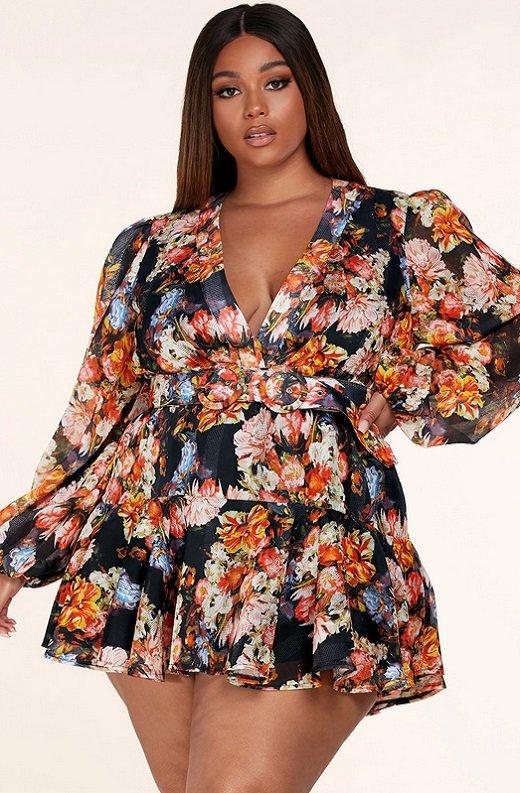 Coral Multi Floral Print Long Sleeve Dress Plus Size 1 - kopie