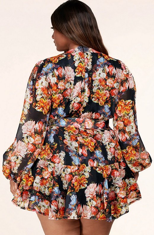 Coral Multi Floral Print Long Sleeve Dress Plus Size 3