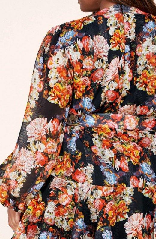 Coral Multi Floral Print Long Sleeve Dress Plus Size 5