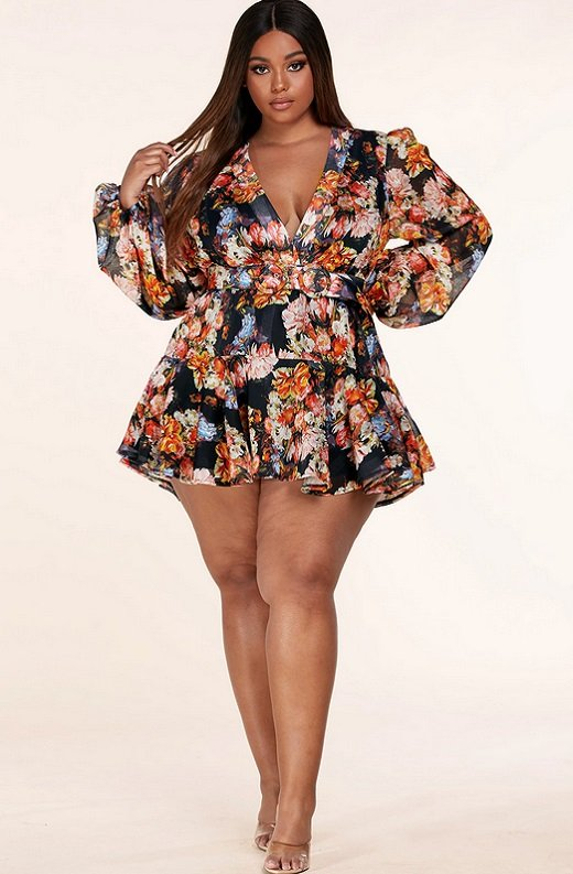 Coral Multi Floral Print Long Sleeve Dress Plus Size 6