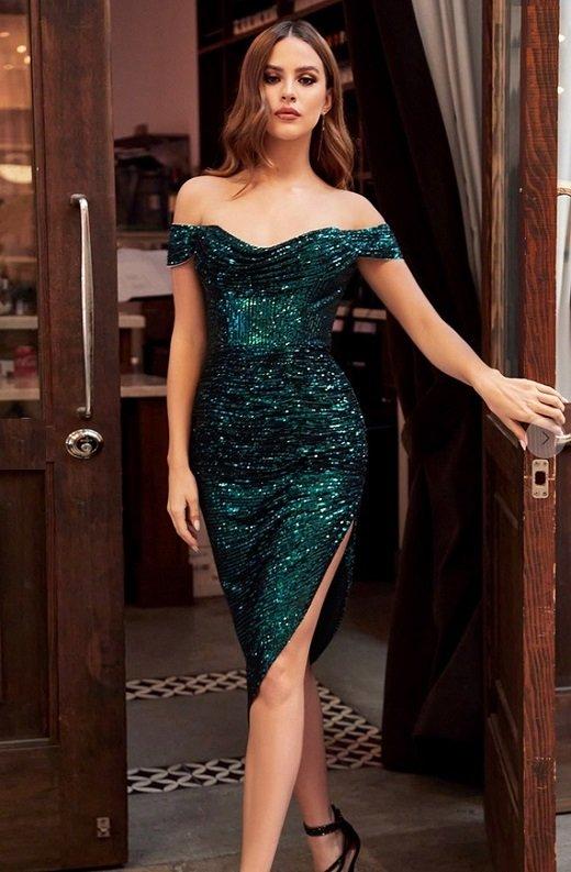 Emerald Iridescent Sequins Off Shoulder Midi Dress new 1