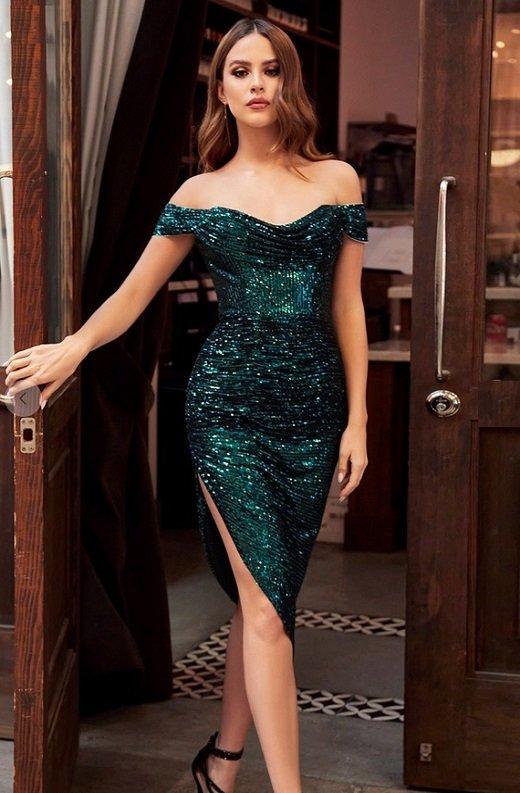Emerald Iridescent Sequins Off Shoulder Midi Dress new 2