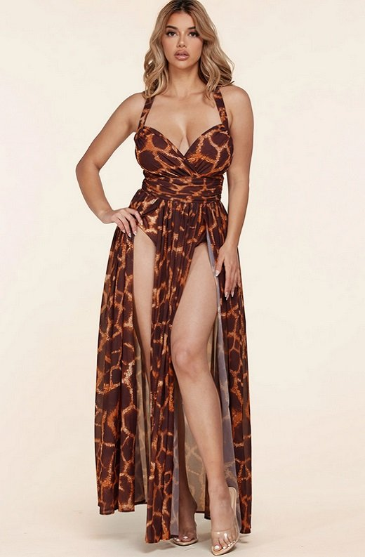 Leopard Print Slit Palazzo Banded Maxi Dress 1
