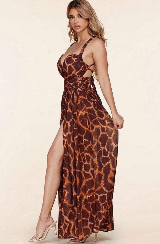 Leopard Print Slit Palazzo Banded Maxi Dress 2