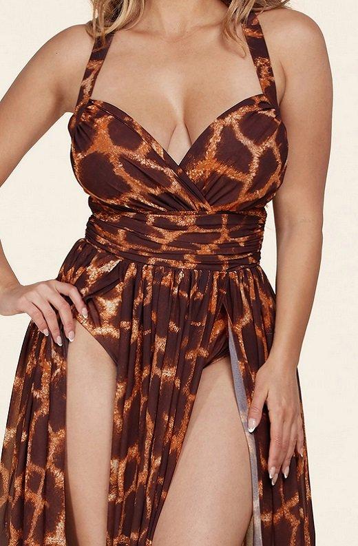 Leopard Print Slit Palazzo Banded Maxi Dress 4