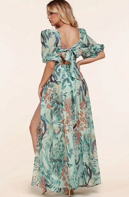 Mint Tropical Ruffle Cut Out Lace Up Short Sleeves Maxi Dress 3