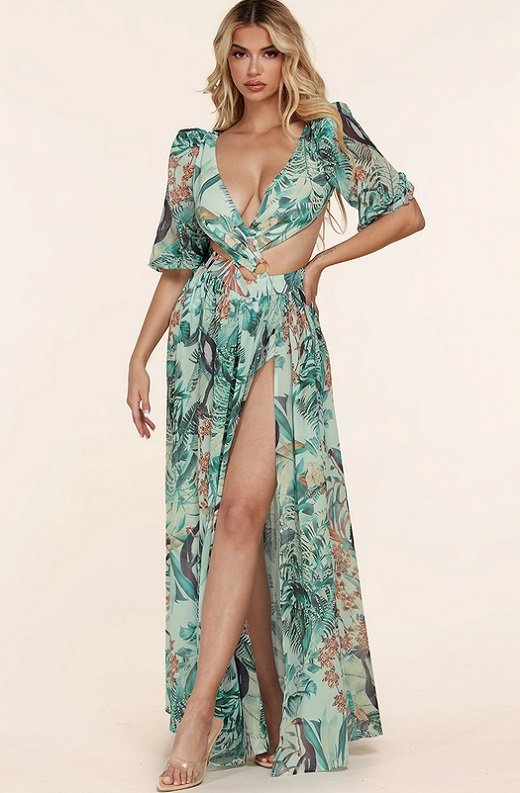Mint Tropical Ruffle Cut Out Lace Up Short Sleeves Maxi Dress 6