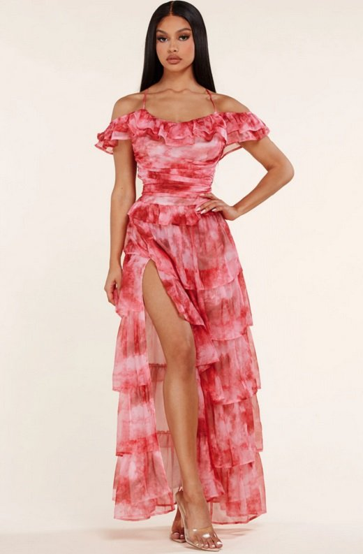 Red Tie Dye Ruffle Trim Strappy Maxi Dress 2