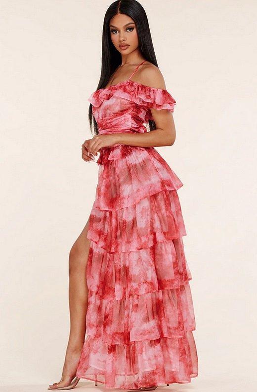 Red Tie Dye Ruffle Trim Strappy Maxi Dress 3