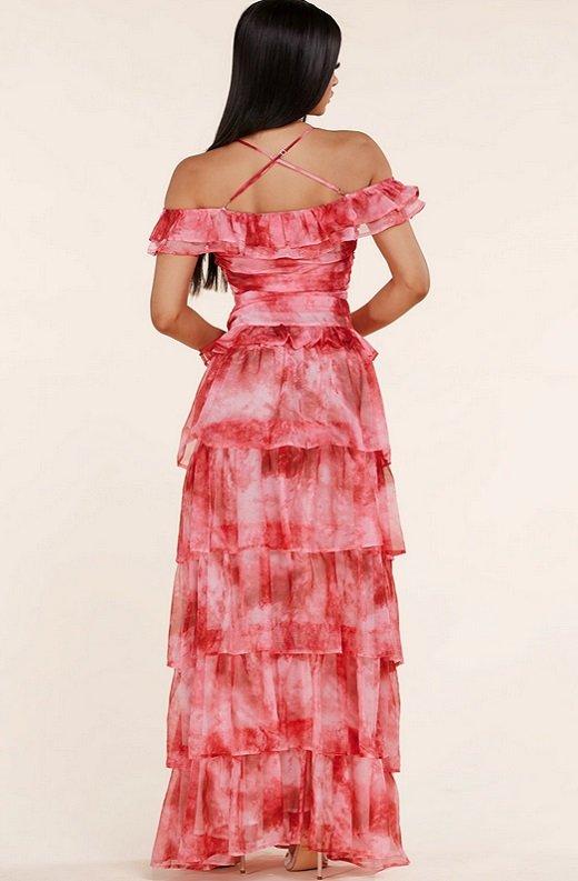 Red Tie Dye Ruffle Trim Strappy Maxi Dress 4