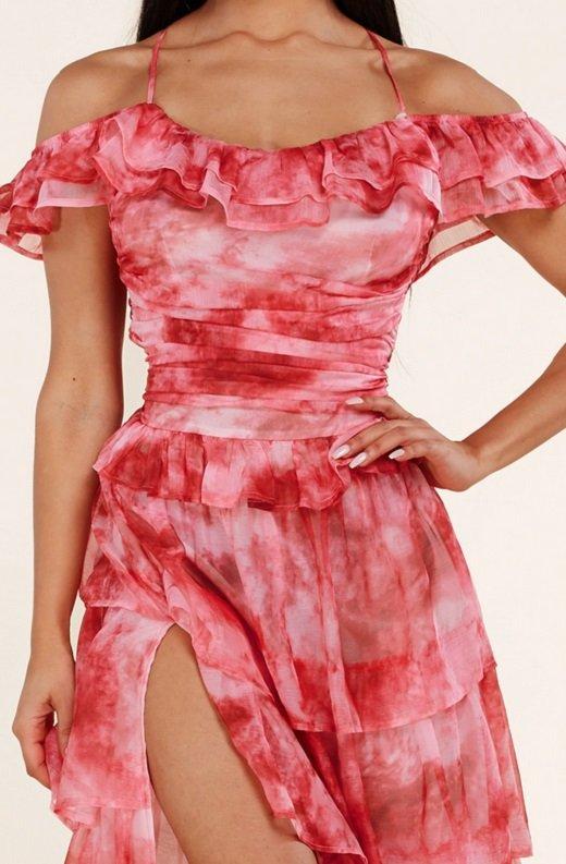 Red Tie Dye Ruffle Trim Strappy Maxi Dress 6