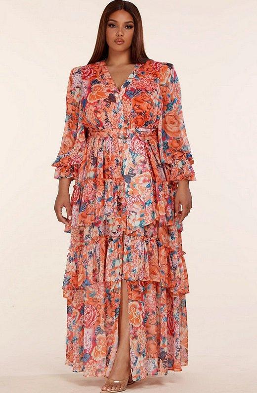 Tangerine Multi Floral Print Long Sleeve Front Slit Dress Plus Size 1