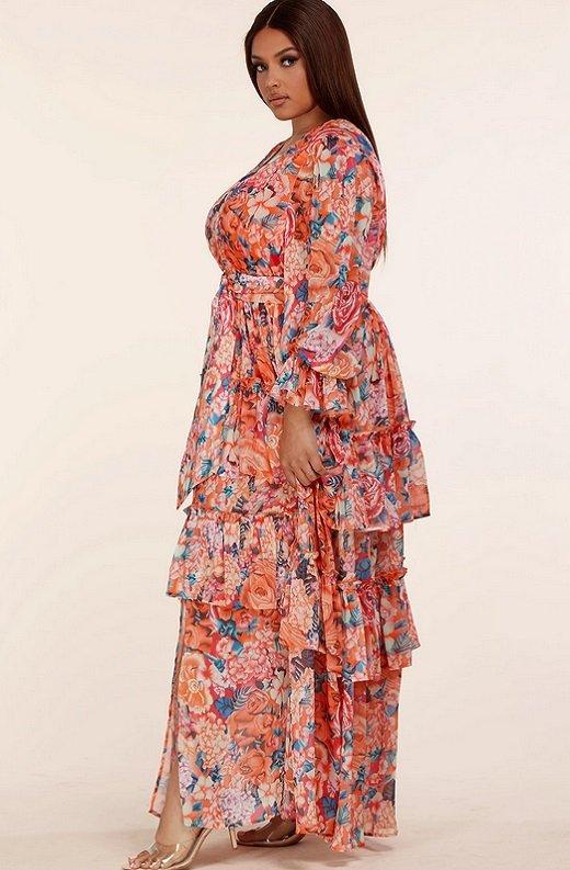 Tangerine Multi Floral Print Long Sleeve Front Slit Dress Plus Size 2