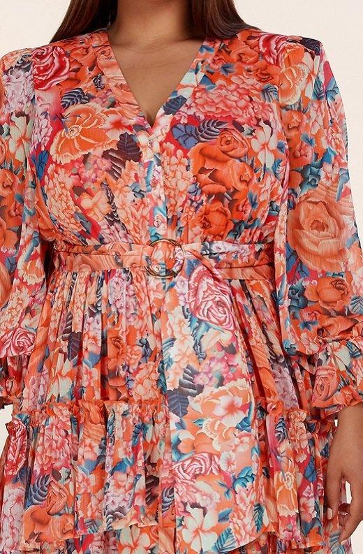 Tangerine Multi Floral Print Long Sleeve Front Slit Dress Plus Size 4