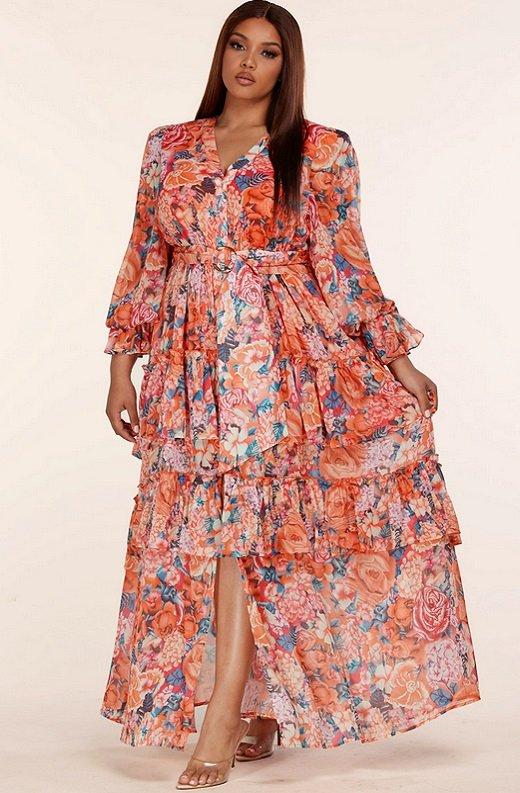 Tangerine Multi Floral Print Long Sleeve Front Slit Dress Plus Size 6