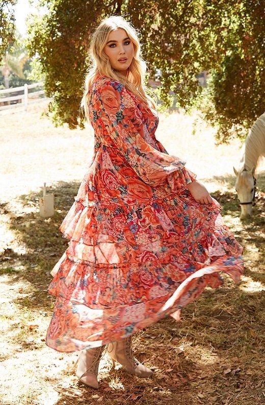 Tangerine Multi Floral Print Long Sleeve Front Slit Dress Plus Size 7