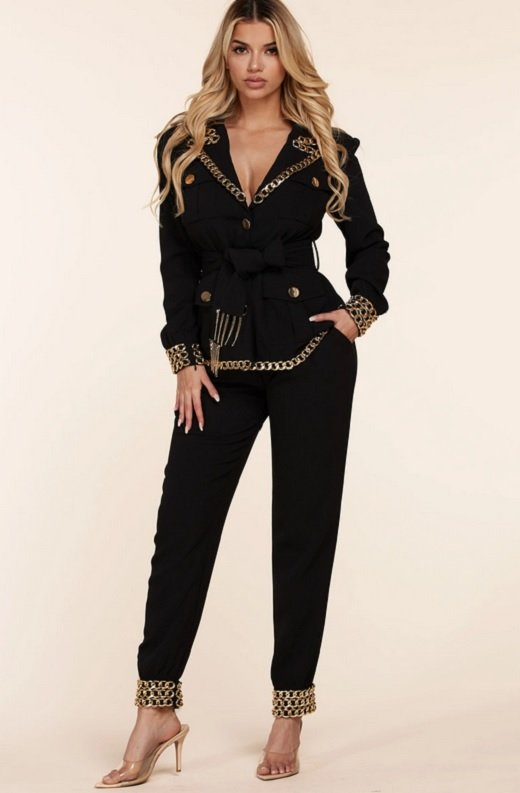 Black Fitted Gold Chains Tapered Pants Blazer Set 1