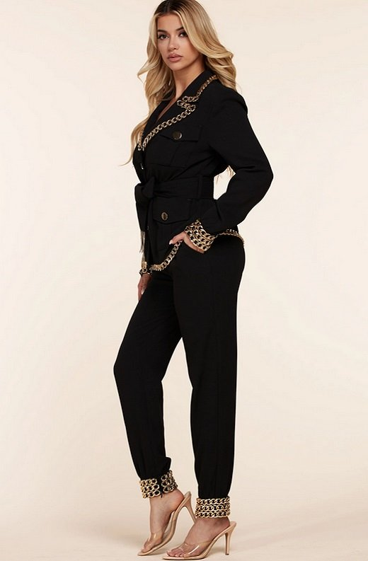 Black Fitted Gold Chains Tapered Pants Blazer Set 2