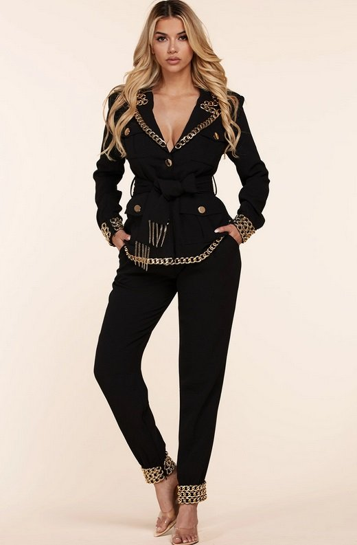 Black Fitted Gold Chains Tapered Pants Blazer Set 6