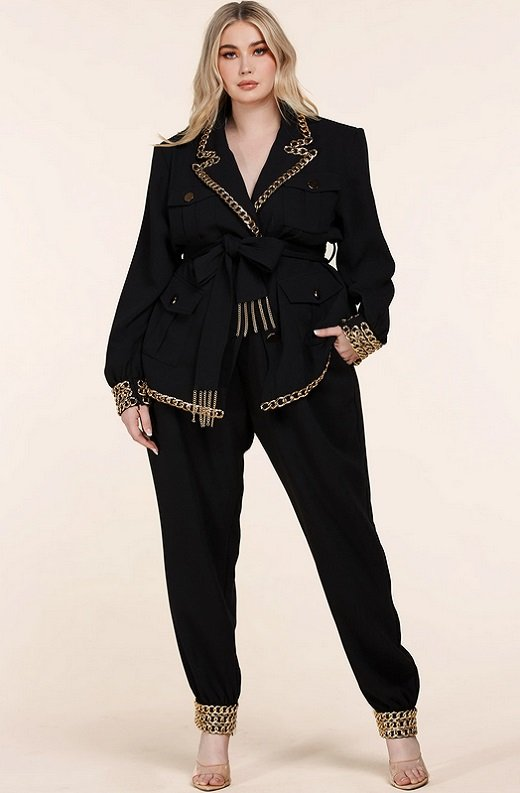 Black Fitted Gold Chains Tapered Pants Blazer Set Plus Size 2