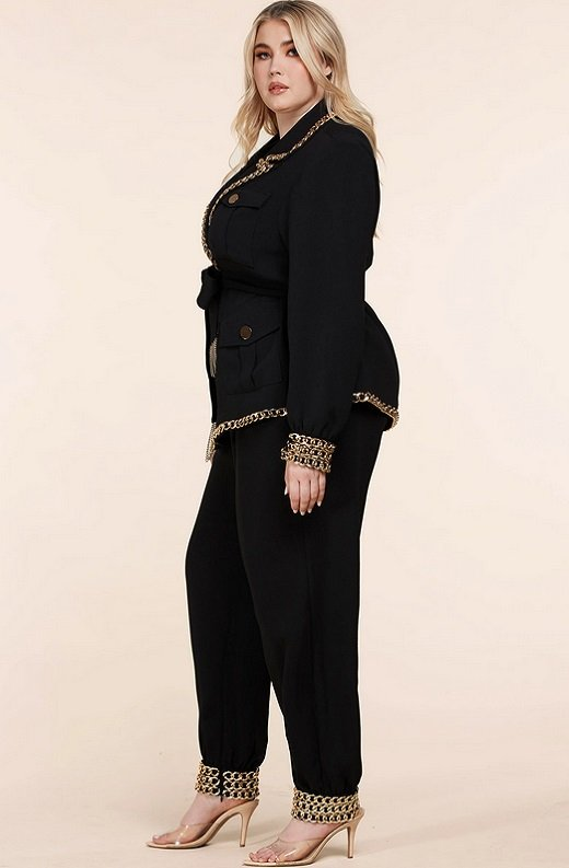 Black Fitted Gold Chains Tapered Pants Blazer Set Plus Size 3
