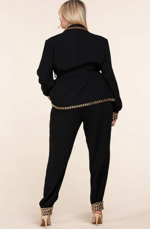 Black Fitted Gold Chains Tapered Pants Blazer Set Plus Size 4