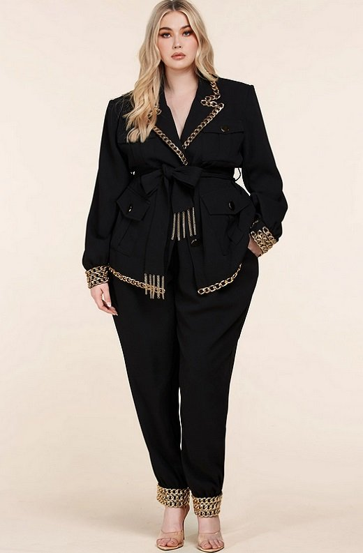 Black Fitted Gold Chains Tapered Pants Blazer Set Plus Size 7