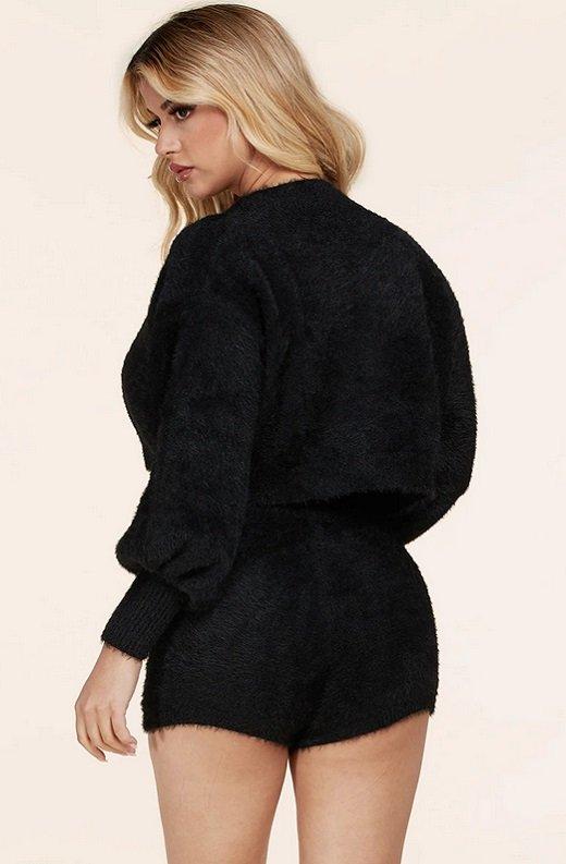 Black Fuzzy Long Sleeves Bike Shorts Three Piece Set 4