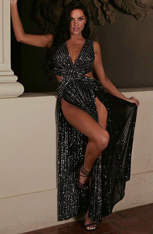 Black Mermaid Sequins Cut Out Long Sleeve Slip On Maxi Dress 1