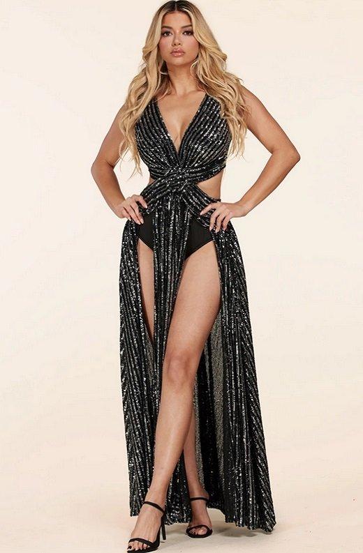 Black Mermaid Sequins Cut Out Long Sleeve Slip On Maxi Dress 2