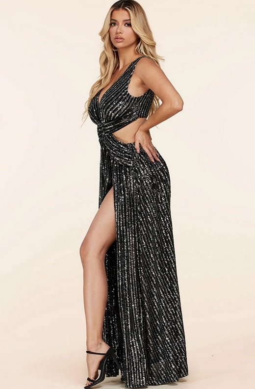 Black Mermaid Sequins Cut Out Long Sleeve Slip On Maxi Dress 3