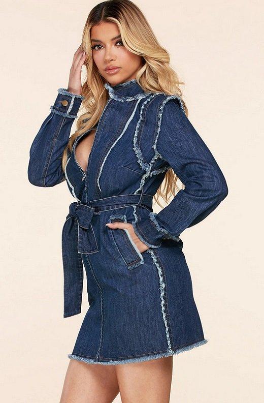 Blue Medium Wash Denim High Neck Long Sleeves Dress 3