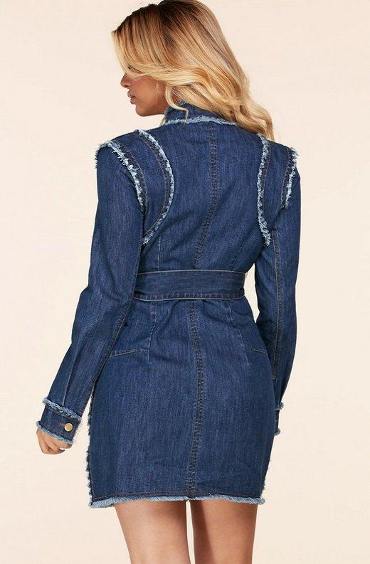Blue Medium Wash Denim High Neck Long Sleeves Dress 4