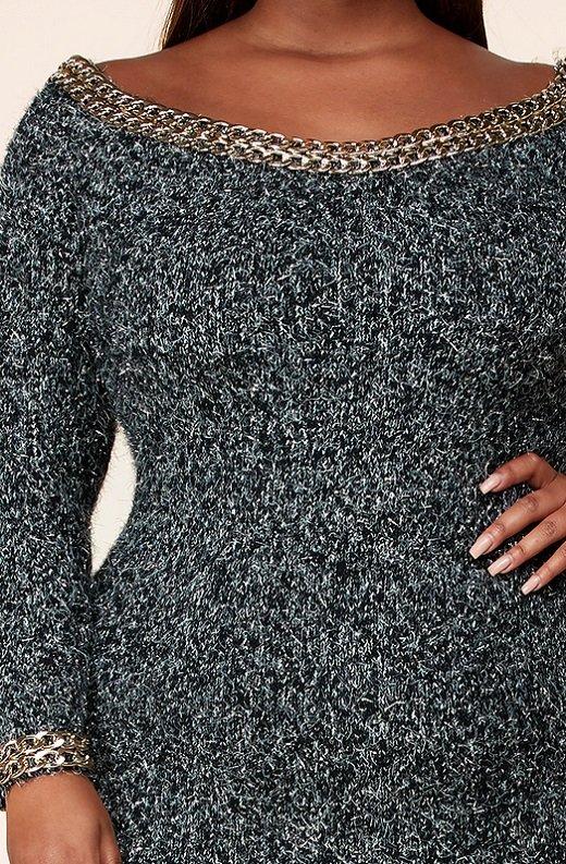 Gunmetal Chenille Knit Off Shoulder Gold Chain Midi Sweater Dress 5