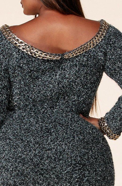 Gunmetal Chenille Knit Off Shoulder Gold Chain Midi Sweater Dress 6