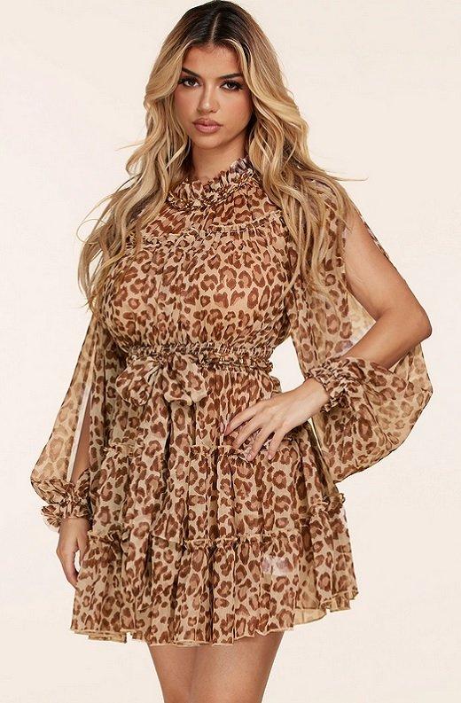 Mocha Leopard Print Open Slit Long Sleeves Midi Dress 1