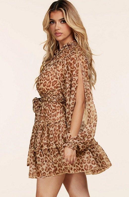 Mocha Leopard Print Open Slit Long Sleeves Midi Dress 2