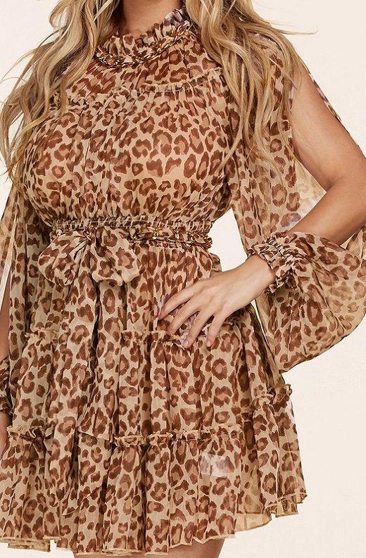 Mocha Leopard Print Open Slit Long Sleeves Midi Dress 4