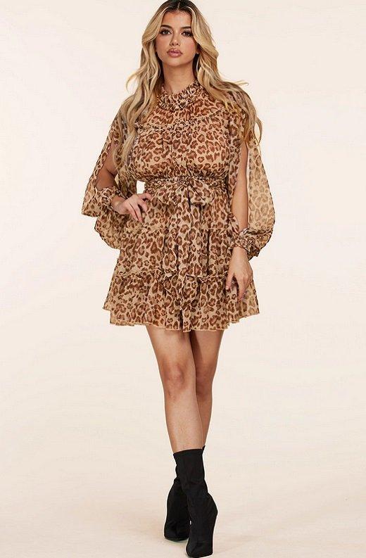Mocha Leopard Print Open Slit Long Sleeves Midi Dress 5