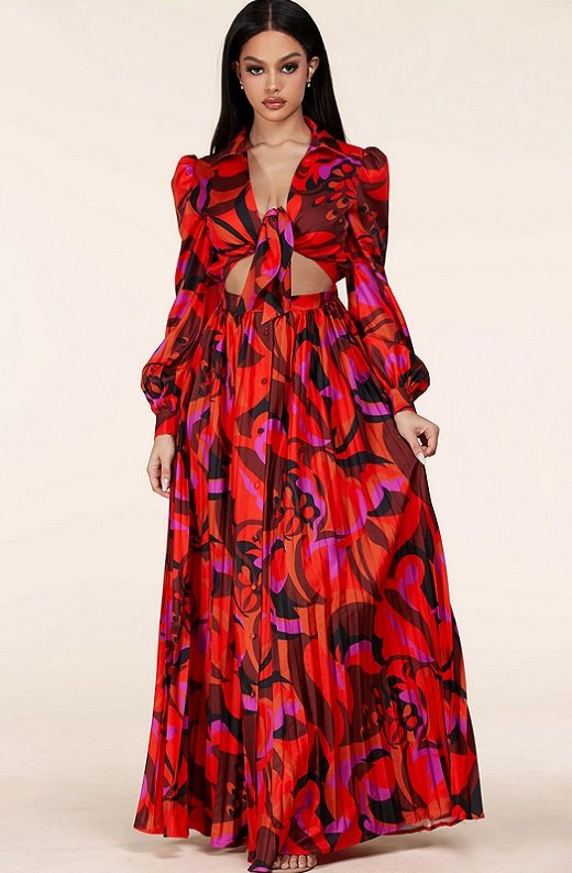 Red Abstract Plunging Tie Front Maxi Dress 1