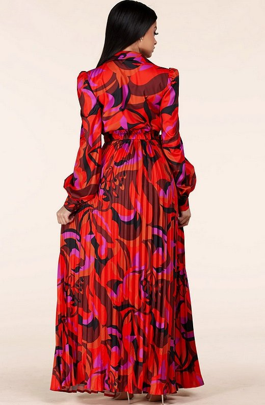 Red Abstract Plunging Tie Front Maxi Dress 3